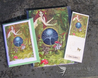 The Green Goddess Notebook, Handmade Bookmark and Card Gift Set