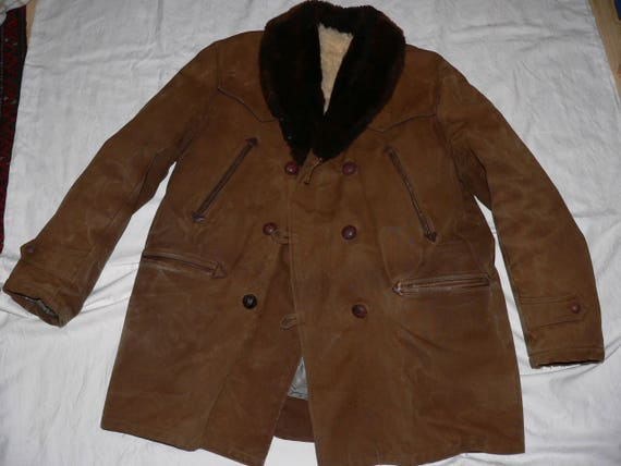 Vintage 1960s men's winter coat with fake fur size EU 52(L) USUK 42 RhyZXp4F