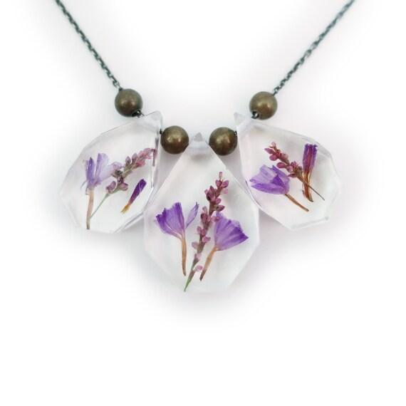 Dried Flower Statement Necklace • Science Jewelry • Resin Flower Pendant • Eco Resin Specimen Jewelry • Terrarium Statement Jewelry