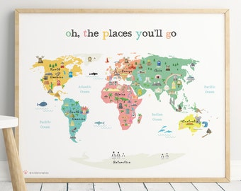 Printable animal world map poster 14x11 in 20x16 in 30x20 printable map poster 11x14 in 20x16 in 24x36 in 70x100cm world gumiabroncs Choice Image