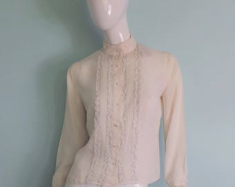 60s Cream Lace Frill Blouse, Ivory Victoriana Button Up Lady Like Shirt, Off White Prim Vintage Shirt, By Elsie Whiteley, 39in Bust, Medium