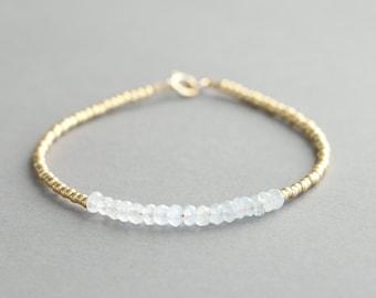 Moonstone Bracelet Beaded Bracelet Gemstone Bracelet Gold Glass Seed Beads