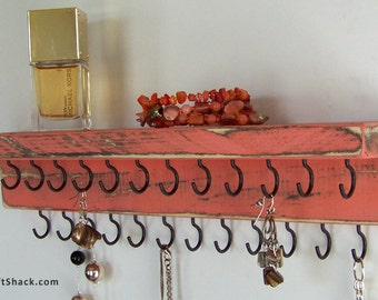 Necklace Holder: Rustic Decor - Distressed Coral w/25 Black Hooks; Rustic Jewelry Organizer; Multiple colors/sizes available!