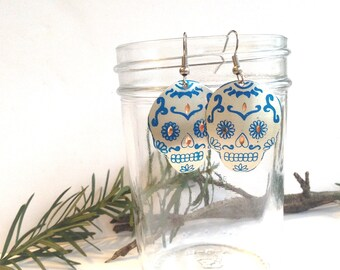 Sugar Skull Earrings, Silver and Blue Dangle Earring, Mexican Skulls, Thin Copper and Tin, Hand Painted, Day of the Dead, Calaveras, Gift