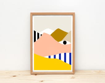Eye and mountain - art print, illustration by depeapa, A4 wall art, wall decor, kids room decor