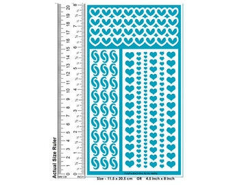 Stencil Stencils Pattern Hearts Template, Reusable, Adhesive, Flexible, for clay, wood, glass, cards Glass Etching Painting Stencils HEARTS