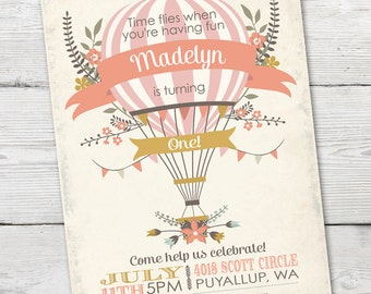 Hot Air Balloon Invitation, Hot Air Balloon Birthday Invitation, DIGTIAL, Girl Hot Air Balloon Invitation, Hot Air Balloon Party Invitation
