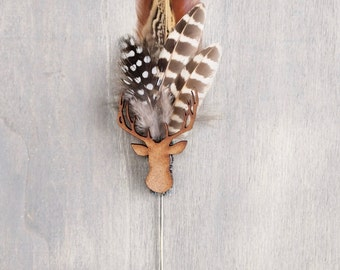 Mr Napier Stag and Game Feather Boutonniere, Lapel pin, Hat Pin, Buttonhole