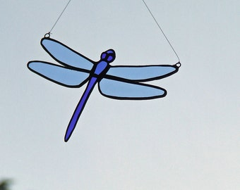 Blue Tailed Dragonfly, Recycled Eco Friendly Glass, Unique Wedding Gift, Anniversary Gift