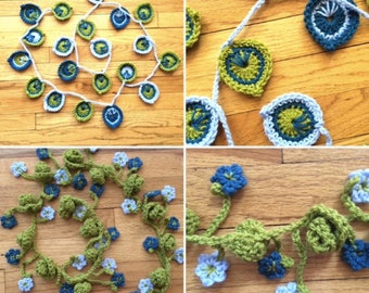 Peacock AND Curly Q's Garlands Crochet PATTERNS - Two Patterns for One Price - Great for the Beginner