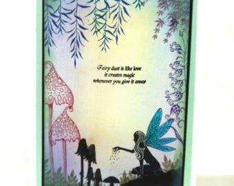 Fairy Card | Hand Inked and Stamped Greeting Card |  Birthday | Magical | Fairy dust