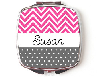 Pink Personalized Bridesmaids Gifts - Personalized Purse Mirror Gifts for Bridal Party