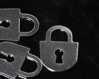 100 pcs nickel plated brass 15 x 10 mm lock shape charms ,findings 480B-42