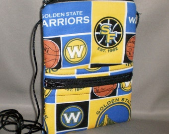 Passport Purse - Sling Bag - Small Mini Purse - Wallet on a String - Warriors - Basketball