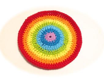 Rainbow Crocheted Round Dish Cloth-Bright Colors