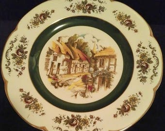 """Vintage 10 1/2"""" Wood & Sons Ascot Service Decorative Plate Alpine White English Ironstone Thatched Cottages and Church Steeple"""