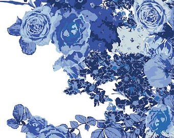 In Blue Bloesem Royale INB-26638 by Katarina Roccella for AGF Blue and White Large Scale Floral Fabric