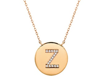 14k gold diamond letter necklace, diamond initial disc necklace