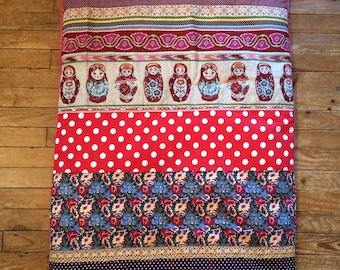 "Quilt colorful plaid, Russian dolls, various fabrics and lace ""Matriochkas"""