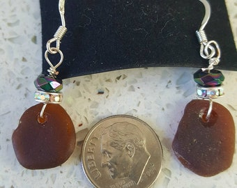 Origional amber sea glass earrings