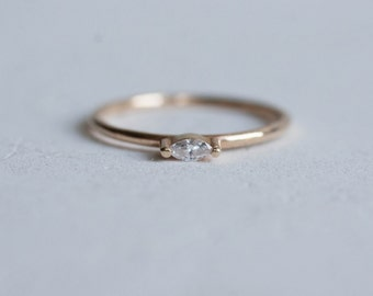 Petite Diamond Marquise Ring Solid 14k Recycled Gold | Diamond Marquise Ring 14k Gold | Navette Diamond Ring 14k Gold