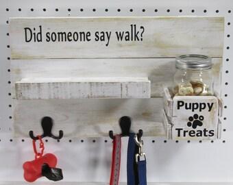 Dog Leash Holder Entryway Wall Storage Dog Lovers Gift Wood Leash Holder Rustic Key Hook Dog Leash Mason Jar Organizer Treats Hanger