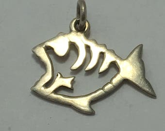 """sterling fish pendant, silver fish pendant, fish charm, salt life jewelry, fish necklace pendant, 1"""" long, gift for him, gift for her"""