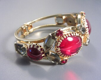 Vintage 60s Red Smoky Rhinestone Clamper Bracelet