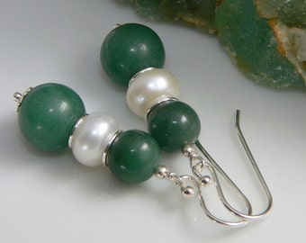 Natural Chinese Jade, Freshwater Pearls and Sterling Silver Findings.