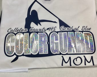 Color Guard Mom with Spangles - Color Options -  Optional Name on back