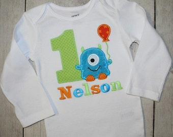 Blue Fuzzy  Monster Birthday Shirt OR bodysuit -Personalized First Birthday Shirt- Monster Birthday Shirt, Green Monster birthday Shirt