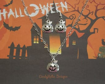 Cute Antique Silver Halloween Pumpkin Charm Necklace and Earrings