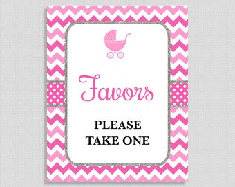 Pink Favor Baby Shower Sign, Pink Chevron Baby Shower Favor Sign, Baby Girl, Silver Glitter,  DIY, INSTANT DOWNLOAD