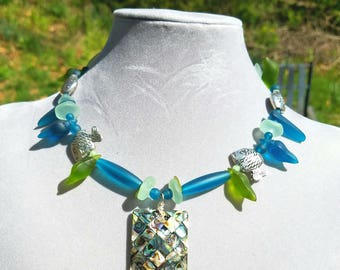 Blue, gree, sea glass and shell necklace