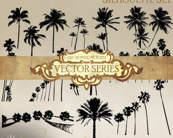 Vector  ~  Silhouettes  |  Real | Palm Trees Set | PNG, EPS, JPEG