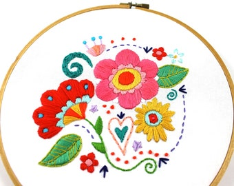 Flower Embroidery Pattern. Floral Embroidery Design. Hand Embroidery. PDF Pattern. Hoop Art. Retro Modern. Boho Flowers. Flower Pattern.
