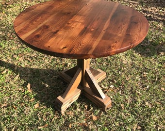 Rustic Reclaimed Handmade ROUND Wood Table Top MULTI SIZE Bar Restaurant Farmhouse Urban Rustic Shabby Chic
