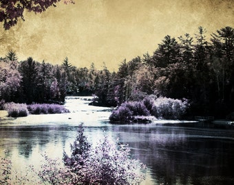 Michigan Photography, Michigan Art, Nature Photography, Waterfall Photography, Lower Tahquamenon Falls in Blueberry Coffee, Textured Print