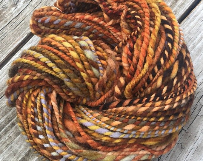 Orange You A Pirate Too? Handspun yarn Wool Blends Yarn Bulky Weight pumpkin orange gold green gray blue Two Ply 2 Ply 96 yards