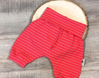 Grow-with-me Harem Shorts - Red Stripes