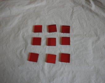"""Flat"" glass squares - Red"