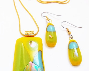 Fused Glass Necklace Set, Yellow Fused glass Pendant, Yellow Turquoise Earrings, Necklace set