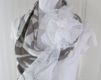 White Roses Gray Jersey Knit Infinity Scarf with White Lace Rose and Lace Contrast