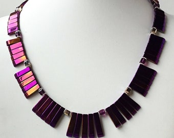 Cleopatra Style Necklace- Hematite Collar Necklace- Geometric Necklace- Pink Necklace- ChristineCrystals