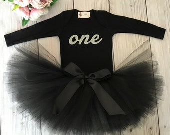 Black and Silver Baby Girl 1st Birthday Outfit   Baby Tutu   Tutu Dress   Birthday Dress   Baby Girls Cake Smash Outfits   Birthday Tutu
