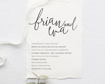 Minimalist Wedding Invitation Set - Printable, Custom, DIY, Deckled, Chic, Rustic, Modern Invite, Simple (Wedding Design #58)