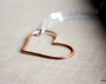 Open Heart Necklace , Copper Heart , Handmade Jewelry