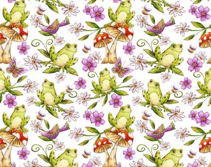 Garden Glory by Blank Quilting - Frogs White - Cotton Woven Fabric