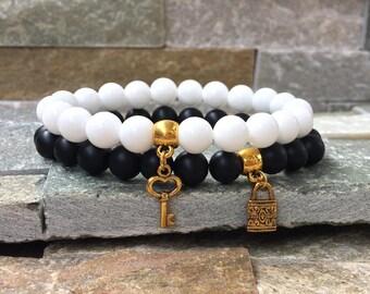 Partner bracelets bracelet set him and key lock Onyx jade 8mm long distance relationship