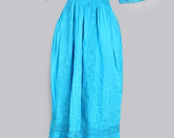 1970's Turquoise Blue Crochet Mexican Vintage Maxi Dress - Bohemian Hippie Festival Dress , Med/Large